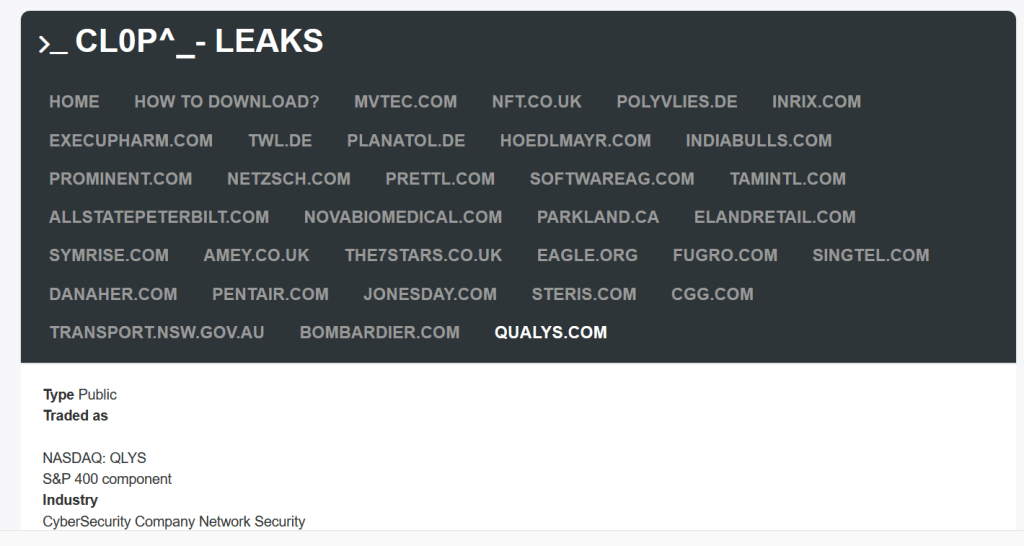 Clop ransomware gang leaks data allegedly stolen from cybersecurity firm Qualys