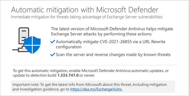 Microsoft Defender can now protect servers against ProxyLogon attacks