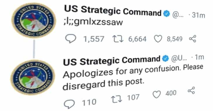 US  nuclear command agency's gibberish tweet was sent by a child