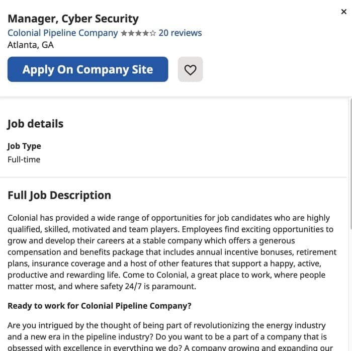 Want to be a cybersecurity manager? Colonial Pipeline is recruiting
