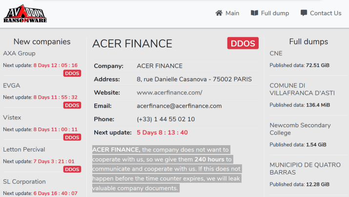 Avaddon Ransomware gang hacked France-based Acer Finance and AXA Asia