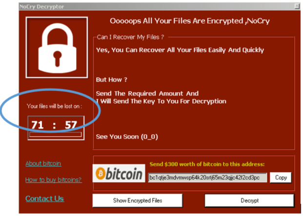 Analysis of NoCry ransomware: A variant of the Judge ransomware