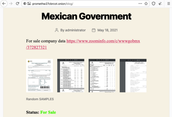 Prometheus and Grief – two new emerging ransomware gangs targeting enterprises. Mexican Government data is published for sale.