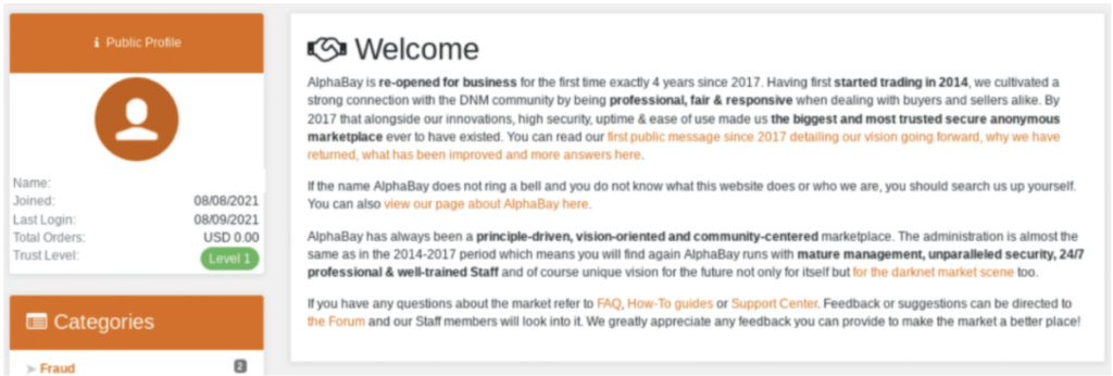 Four years after its takedown, AlphaBay marketplace revamped