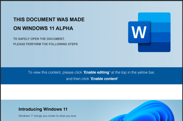 FIN7 group leverages Windows 11 Alpha-Themed docs to drop Javascript payloads